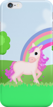 Cute Pink Pony Horse Cartoon by ArtformDesigns