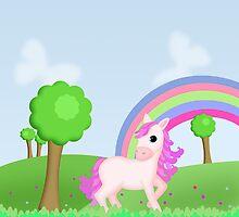 Cute Pink Pony Horse Cartoon by ArtformDesigns