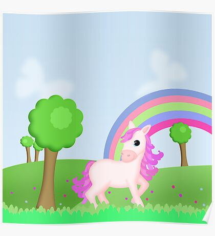 Cute Pink Pony Horse Cartoon Poster
