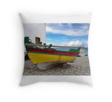 Boat in Samos Throw Pillow