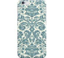 Vintage Damask Pattern in Juniper Blue-Green and Ivory iPhone Case/Skin