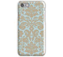Vintage Damask Pattern in Aqua Blue and Khaki Beige iPhone Case/Skin