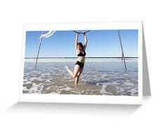 Aerial Hoop Trapeze Beach Camp Greeting Card