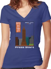 Super New York City Women's Fitted V-Neck T-Shirt