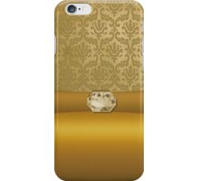 Vintage Damask Pattern in Gold with Ribbon and Topaz Gem iPhone Case/Skin