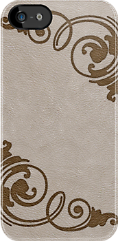 Faux Tooled Cream Leather with Scrolls in Brown by ArtformDesigns