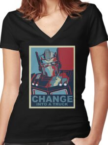 Change into A Truck Women's Fitted V-Neck T-Shirt