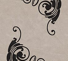 Faux Tooled Cream Leather with Scrolls in Black by ArtformDesigns