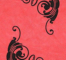 Faux Tooled Red Leather with Scrolls in Black by ArtformDesigns