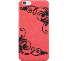 Faux Tooled Red Leather with Scrolls in Black iPhone Case/Skin