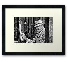 Artist at work mono Framed Print