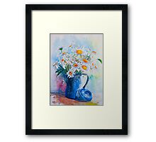 Daisies in a Blue Jug Framed Print