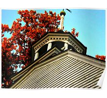 church in sleepy hollow NY in fall colors Poster