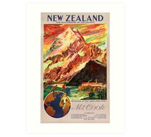 New Zealand Mt. Cook Vintage Travel Poster Art Print