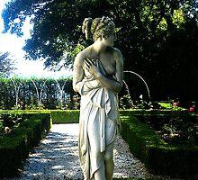Goddess of beauty walking in the garden at Rosecliff in Newport RI by shivonnejean