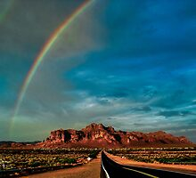 Superstition Mountain Double Rainbow by J. Michael Runyon