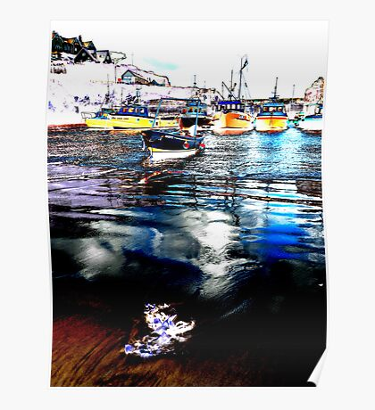 Sheltering boats Poster