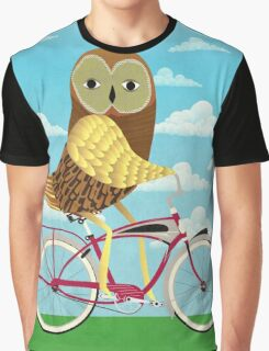 Owl Bicycle Graphic T-Shirt