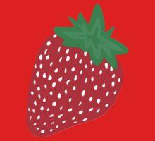 Cream Strawberries Pattern One Piece - Long Sleeve