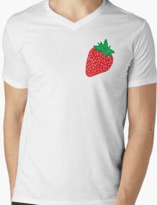 Cream Strawberries Pattern Mens V-Neck T-Shirt