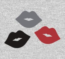 Red and Black Lips Pattern Baby Tee