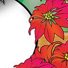 Traditional Green and Red Christmas Poinsettia Flowers by rozine
