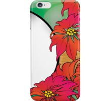Traditional Green and Red Christmas Poinsettia Flowers iPhone Case/Skin