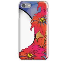 Pretty Purple Navy Blue and Red Poinsettia Flower Design iPhone Case/Skin