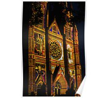 St Marys Cathedral, Sydney, lit up for Christmas Poster