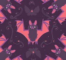 Bats Damask Wallpaper by BasilFox