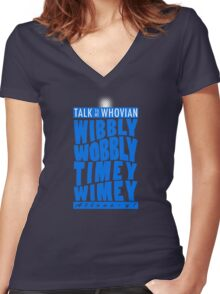 Talk Whovian To Me (version 2, light blue) Women's Fitted V-Neck T-Shirt