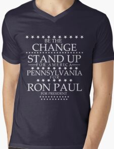 """""""Be The Change- Stand Up For America"""" Pennsylvania for Ron Paul Mens V-Neck T-Shirt"""