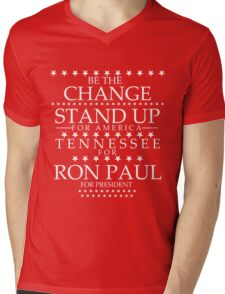 """""""Be The Change- Stand Up For America"""" Tennessee for Ron Paul Mens V-Neck T-Shirt"""