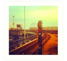 entering coney island station Art Print