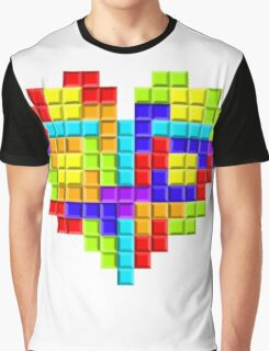 Tetris Block Heart Graphic T-Shirt
