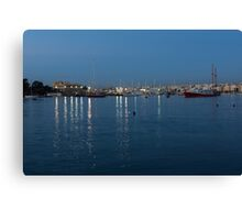 Mediterranean Blue Hour Magic - Valletta's Marsamxett Harbour Shimmering Lights Canvas Print