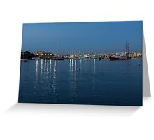 Mediterranean Blue Hour Magic - Valletta's Marsamxett Harbour Shimmering Lights Greeting Card