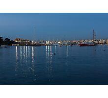 Mediterranean Blue Hour Magic - Valletta's Marsamxett Harbour Shimmering Lights Photographic Print