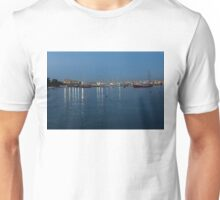 Mediterranean Blue Hour Magic - Valletta's Marsamxett Harbour Shimmering Lights Unisex T-Shirt