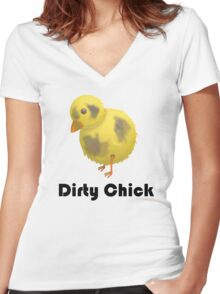 Dirty Chick, Funny Cartoon Chicken Design Women's Fitted V-Neck T-Shirt