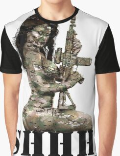 Shhh ! Special Forces Pinup, 7th SFG Graphic T-Shirt
