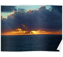 Caribbean sunset at sea Poster