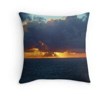 Caribbean sunset at sea Throw Pillow