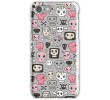 Skulls in Pink on Grey iPhone Case/Skin
