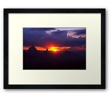 Glasshouse mountains sunset Framed Print