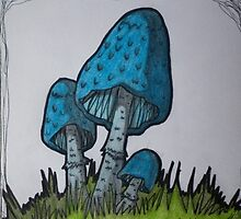 Blue Mushrooms by ScarlettRuby