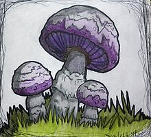 Purple Mushrooms by ScarlettRuby
