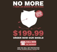 No more arrow in the knee! Protect your knee with our SHIELD! by bomdesignz