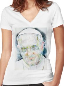 POPE FRANCIS - watercolor portrait.7 Women's Fitted V-Neck T-Shirt