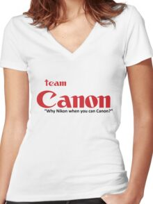 "Team Canon! - ""why nikon when you can CANON?"" Women's Fitted V-Neck T-Shirt"